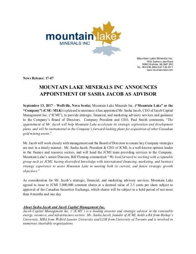 Mountain Lake Minerals Inc. 1853 Sunken Lake Road RR#2 Wolfville, NS B4P 2R2 Tel.: 902.698.2662| 647.729.0311 www.mountain...