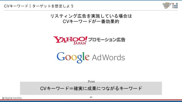 29 CVキーワード ターゲットを想定しよう ツールを賢く使おう CVキーワード=確実に成果につながるキーワード Point リスティング広告を実施している場合は CVキーワードが一番効果的 AdWords