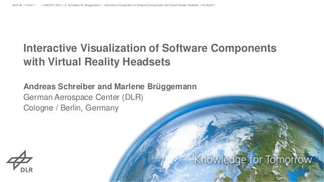Interactive Visualization of Software Components with Virtual Reality Headsets Andreas Schreiber and Marlene Brüggemann Ge...