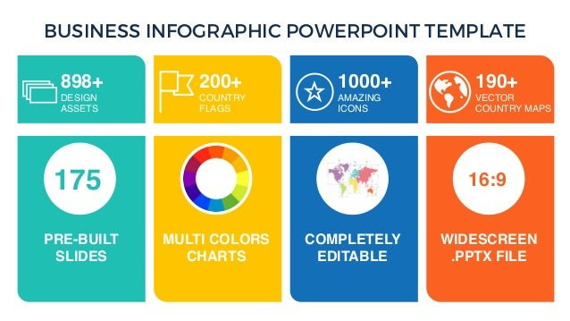 BUSINESS INFOGRAPHIC POWERPOINT TEMPLATE 200+ COUNTRY FLAGS 1000+ AMAZING ICONS 190+ VECTOR COUNTRY MAPS 175 16:9 PRE-BUIL...