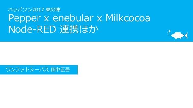 ペッパソン2017 東の陣 Pepper x enebular x Milkcocoa Node-RED 連携ほか ワンフットシーバス 田中正吾