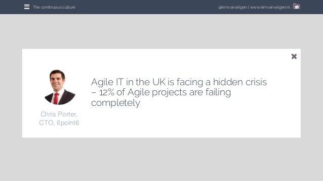 @kimvanwilgen | www.kimvanwilgen.nlThe continuous culture 16 Agile IT in the UK is facing a hidden crisis – 12% of Agile p...