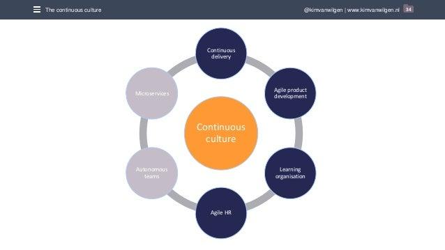 @kimvanwilgen | www.kimvanwilgen.nlThe continuous culture 34 Continuous culture Continuous delivery Agile product developm...