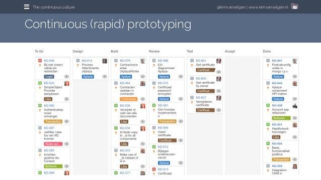 @kimvanwilgen | www.kimvanwilgen.nlThe continuous culture 59 Continuous (rapid) prototyping