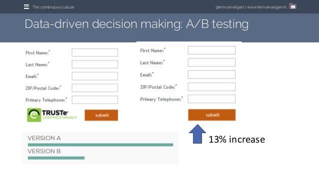 @kimvanwilgen | www.kimvanwilgen.nlThe continuous culture 68 Data-driven decision making: A/B testing 13% increase