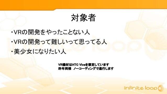 【Unity道場スペシャル 2017札幌】おっさんでも美少女になれる?!VRアイドルの作り方 Slide 2
