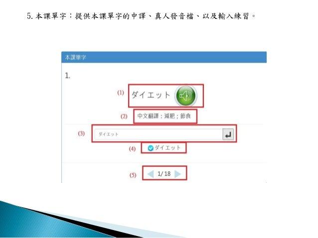 5.本課單字:提供本課單字的中譯、真人發音檔、以及輸入練習。