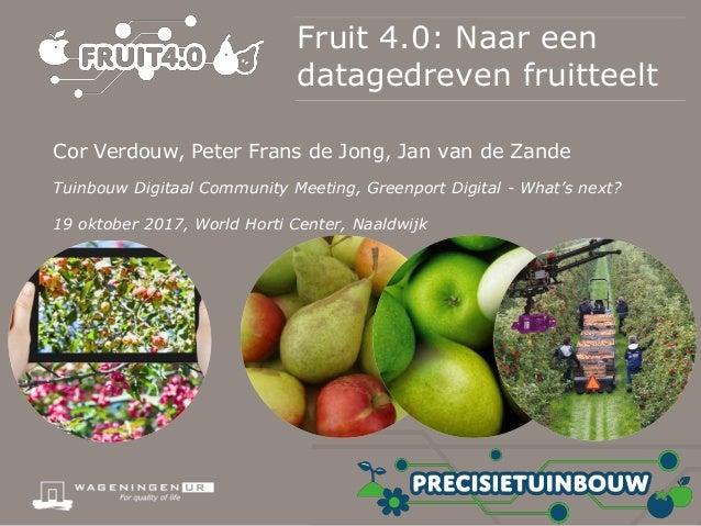 Fruit 4.0: Naar een datagedreven fruitteelt Cor Verdouw, Peter Frans de Jong, Jan van de Zande Tuinbouw Digitaal Community...