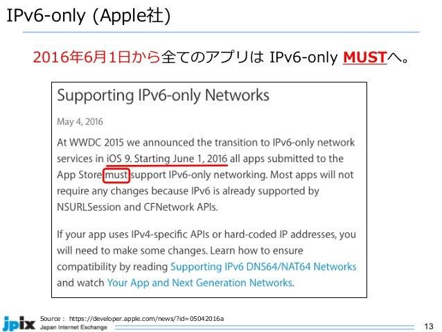13 IPv6-only (Apple社) Source : https://developer.apple.com/news/?id=05042016a 2016年6⽉1⽇から全てのアプリは IPv6-only MUSTへ。
