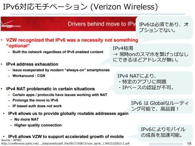 19 IPv6対応モチベーション (Verizon Wireless) Source : APNIC http://conference.apnic.net/__data/assets/pdf_file/0017/50813/vzw_apnic...