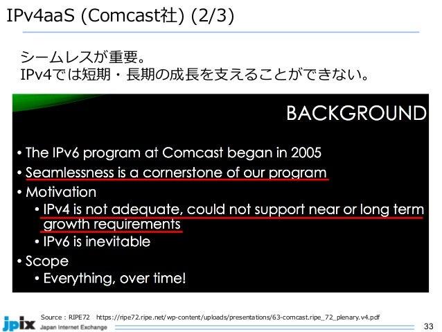 33 IPv4aaS (Comcast社) (2/3) Source : RIPE72 https://ripe72.ripe.net/wp-content/uploads/presentations/63-comcast.ripe_72_pl...
