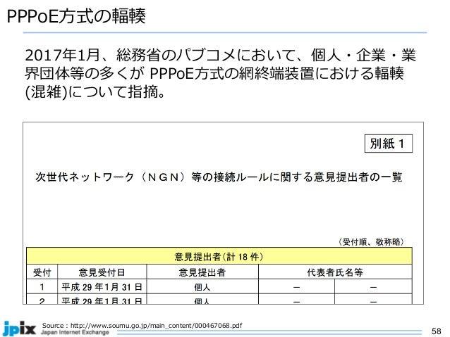 58 PPPoE⽅式の輻輳 Source : http://www.soumu.go.jp/main_content/000467068.pdf 2017年1⽉、総務省のパブコメにおいて、個⼈・企業・業 界団体等の多くが PPPoE⽅式の網終端...