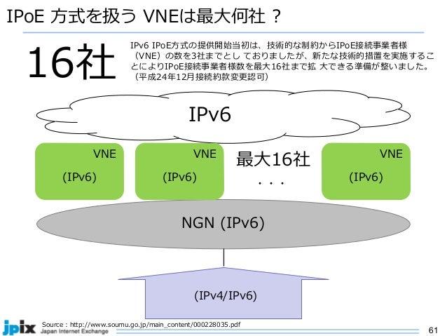 61 IPoE ⽅式を扱う VNEは最⼤何社 ? Source : http://www.soumu.go.jp/main_content/000228035.pdf 16社 NGN (IPv6) (IPv4/IPv6) IPv6 VNE (I...