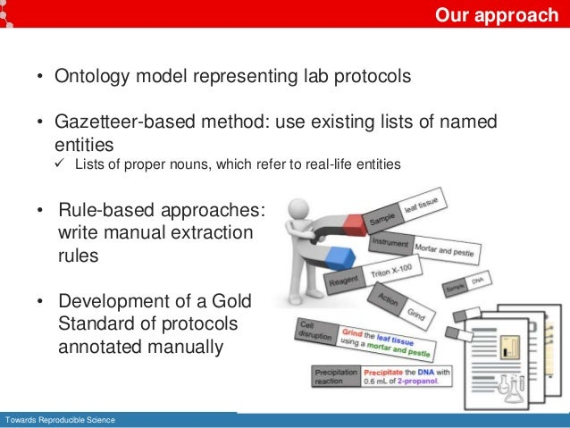 Towards Reproducible Science Our approach • Ontology model representing lab protocols • Gazetteer-based method: use existi...
