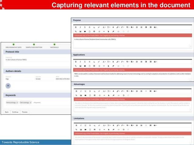 Towards Reproducible Science 25 Capturing relevant elements in the document