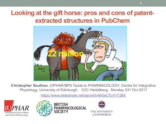 www.guidetopharmacology.org Looking at the gift horse: pros and cons of patent- extracted structures in PubChem Christophe...