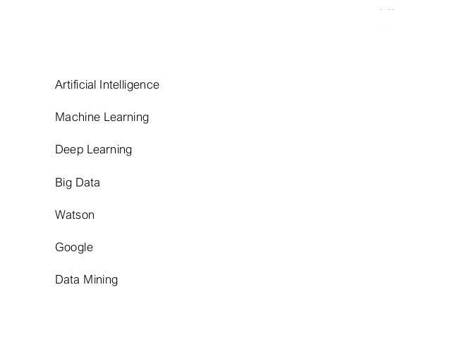 Artificial Intelligence Machine Learning Deep Learning Big Data Watson Google Data Mining