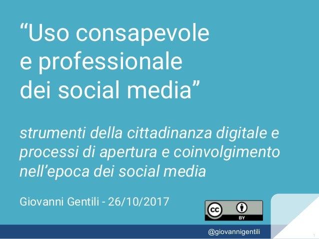 """""""Uso consapevole e professionale dei social media"""" strumenti della cittadinanza digitale e processi di apertura e coinvolg..."""