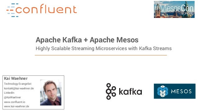 1Confidential Apache Kafka + Apache Mesos Highly Scalable Streaming Microservices with Kafka Streams Kai Waehner Technolog...