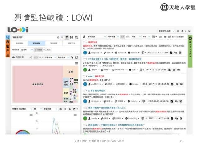 42天地人學堂:社群經理人暨內容行銷操作實戰 輿情監控軟體:LOWI