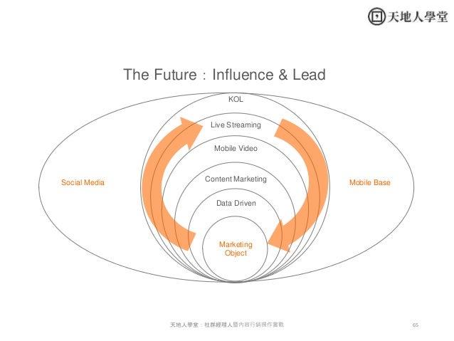 65天地人學堂:社群經理人暨內容行銷操作實戰 The Future:Influence & Lead Marketing Object Data Driven Mobile Video Live Streaming KOL Content Ma...