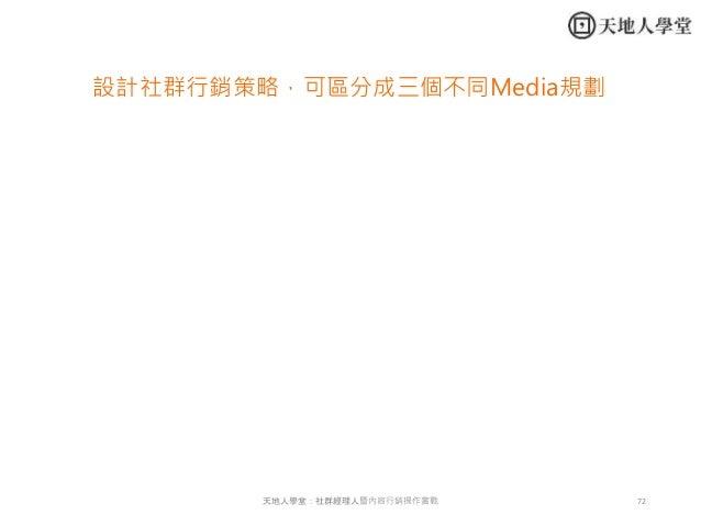 72天地人學堂:社群經理人暨內容行銷操作實戰 設計社群行銷策略,可區分成三個不同Media規劃