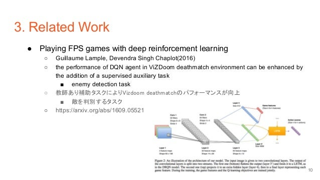 3. Related Work ● Playing FPS games with deep reinforcement learning ○ Guillaume Lample, Devendra Singh Chaplot(2016) ○ th...