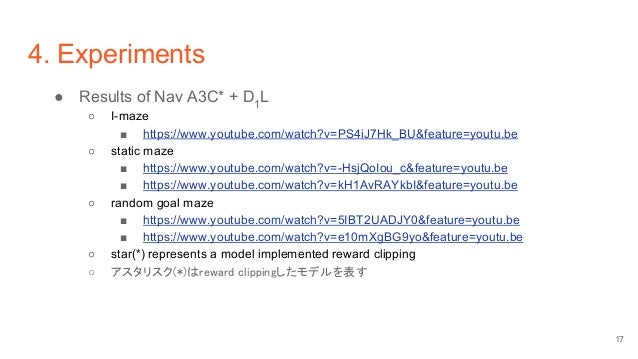 4. Experiments ● Results of Nav A3C* + D1 L ○ I-maze ■ https://www.youtube.com/watch?v=PS4iJ7Hk_BU&feature=youtu.be ○ stat...