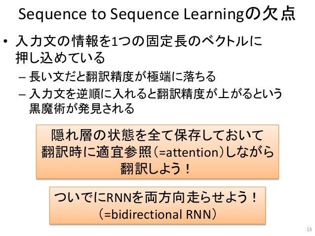 Sequence to Sequence Learningの欠点 • 入力文の情報を1つの固定長のベクトルに 押し込めている – 長い文だと翻訳精度が極端に落ちる – 入力文を逆順に入れると翻訳精度が上がるという 黒魔術が発見される 13 隠れ...
