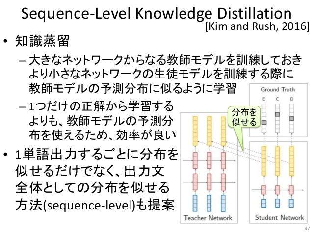 Sequence-Level Knowledge Distillation • 知識蒸留 – 大きなネットワークからなる教師モデルを訓練しておき より小さなネットワークの生徒モデルを訓練する際に 教師モデルの予測分布に似るように学習 – 1つだ...