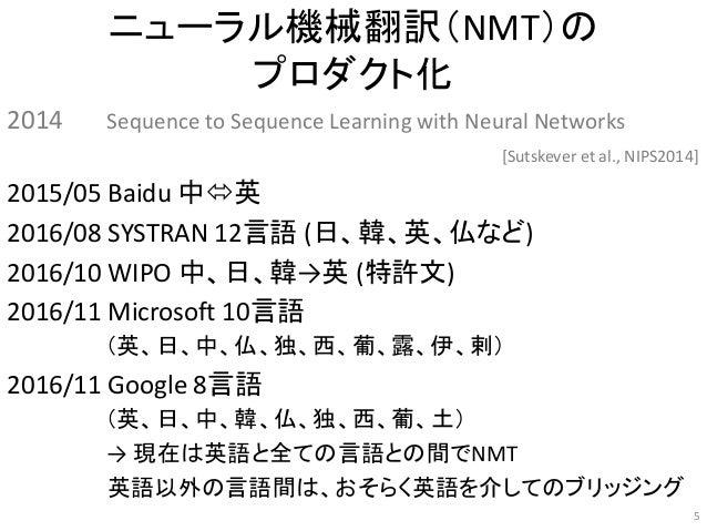 ニューラル機械翻訳(NMT)の プロダクト化 2014 Sequence to Sequence Learning with Neural Networks [Sutskever et al., NIPS2014] 2015/05 Baidu ...