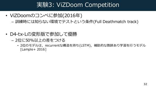 実験3: ViZDoom Competition • ViZDoomのコンペに参加(2016年) – 訓練時には知らない環境でテストという条件(Full Deathmatch track) • D4-tx-Lの変形版で参加して優勝 – 2位に5...