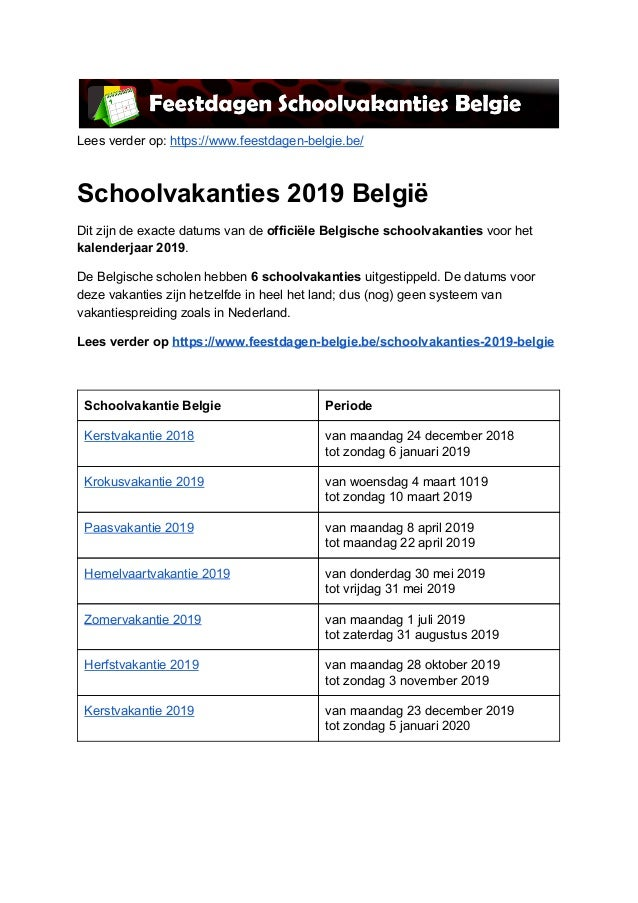 Kalender 2019 Feestdagen En Schoolvakanties