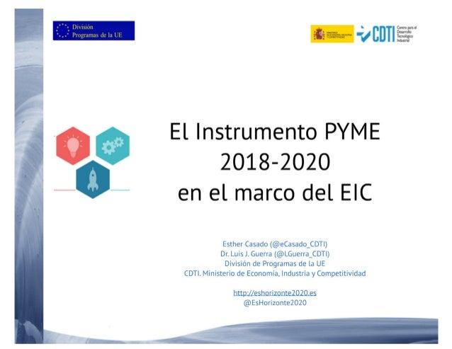 20171116 El instrumento pyme en el marco del EIC 2018-20