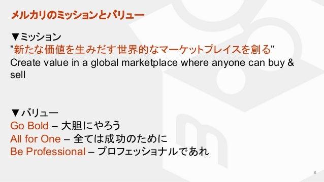 """メルカリのミッションとバリュー 8 ▼ミッション """"新たな価値を生みだす世界的なマーケットプレイスを創る"""" Create value in a global marketplace where anyone can buy & sell ▼バリ..."""