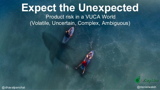 Expect the Unexpected Product risk in a VUCA World (Volatile, Uncertain, Complex, Ambiguous) @dhavalpanchal @danielwalsh