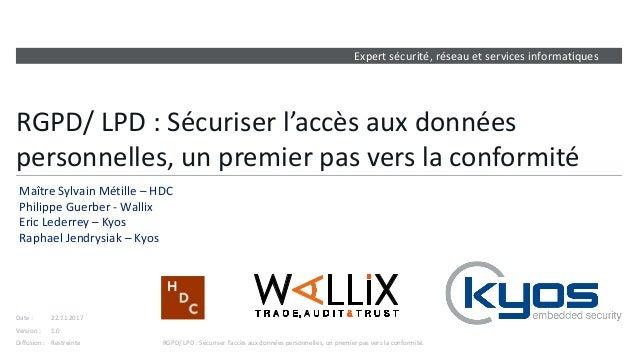 Expert sécurité, réseau et services informatiques Version : Date : Diffusion : RGPD/ LPD : Sécuriser l'accès aux données p...