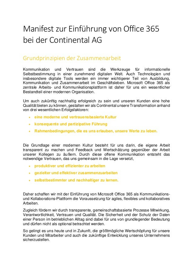 Manifest zur Einführung von Office 365 bei der Continental AG Grundprinzipien der Zusammenarbeit Kommunikation und Vertrau...