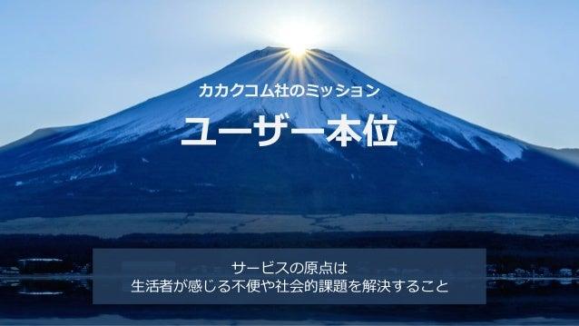 Copyright © Kakaku.com Inc. All Rights Reserved. カカクコム社のミッション ユーザー本位 サービスの原点は 生活者が感じる不便や社会的課題を解決すること