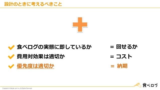 Copyright © Kakaku.com Inc. All Rights Reserved. 設計のときに考えるべきこと 食べログの実態に即しているか 費用対効果は適切か 優先度は適切か = 回せるか = コスト = 納期