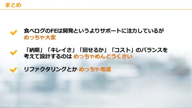 Copyright © Kakaku.com Inc. All Rights Reserved. まとめ 食べログのFEは開発というよりサポートに注力しているが めっちゃ大変 「納期」「キレイさ」「回せるか」「コスト」のバランスを 考えて設計す...
