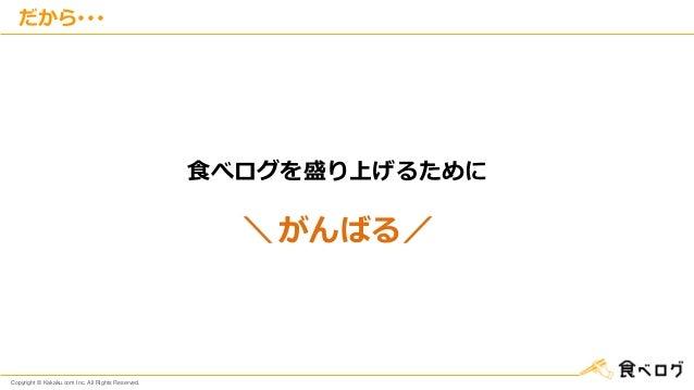 Copyright © Kakaku.com Inc. All Rights Reserved. だから・・・ 食べログを盛り上げるために \ がんばる/