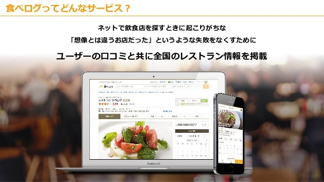 Copyright © Kakaku.com Inc. All Rights Reserved. 食べログってどんなサービス? ネットで飲食店を探すときに起こりがちな 「想像とは違うお店だった」というような失敗をなくすために ユーザーの口コミと...