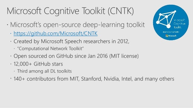 Deep Learning Microsoft Cognitive Toolkit Cntk And Azure Machine L