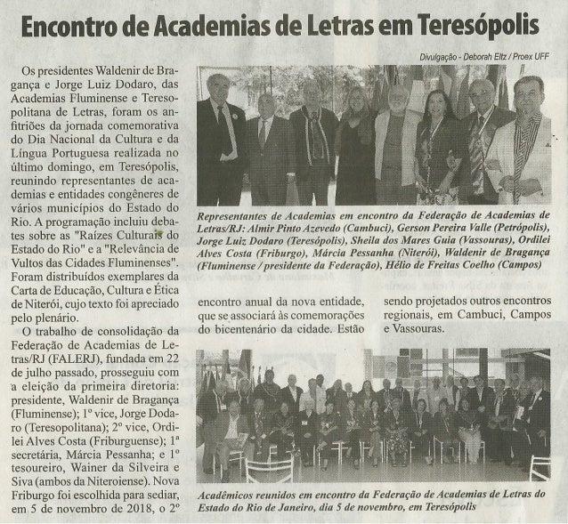 11/2017 Encontro de Academias de Letras em Teresópolis