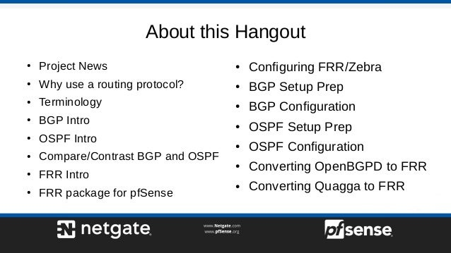 Dynamic Routing with FRR - pfSense Hangout December 2017