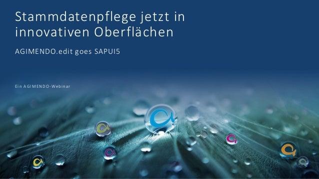 Stammdatenpflege jetzt in innovativen Oberflächen AGIMENDO.edit goes SAPUI5 Ein AGIMENDO-Webinar