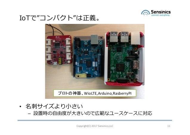 "IoTで""コンパクト""は正義。 • 名刺サイズより⼩さい – 設置時の⾃由度が⼤きいので広範なユースケースに対応 Copyright(C)2017Sensinics,LLC 11 プロトの神器、WioLTE,Arduino,Rasberry..."