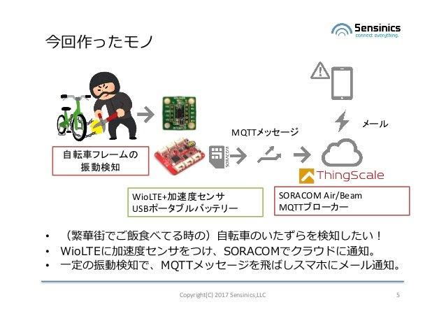 今回作ったモノ • (繁華街でご飯⾷べてる時の)⾃転⾞のいたずらを検知したい! • WioLTEに加速度センサをつけ、SORACOMでクラウドに通知。 • ⼀定の振動検知で、MQTTメッセージを⾶ばしスマホにメール通知。 Copyright(C...
