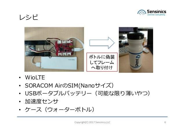 レシピ • WioLTE • SORACOM AirのSIM(Nanoサイズ) • USBポータブルバッテリー(可能な限り薄いやつ) • 加速度センサ • ケース(ウォーターボトル) Copyright(C)2017Sensinics,LL...